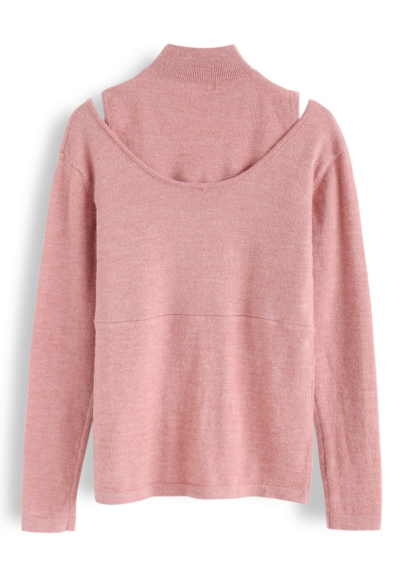 Fake Two-Piece Mock Neck Wrap Knit Top in Pink