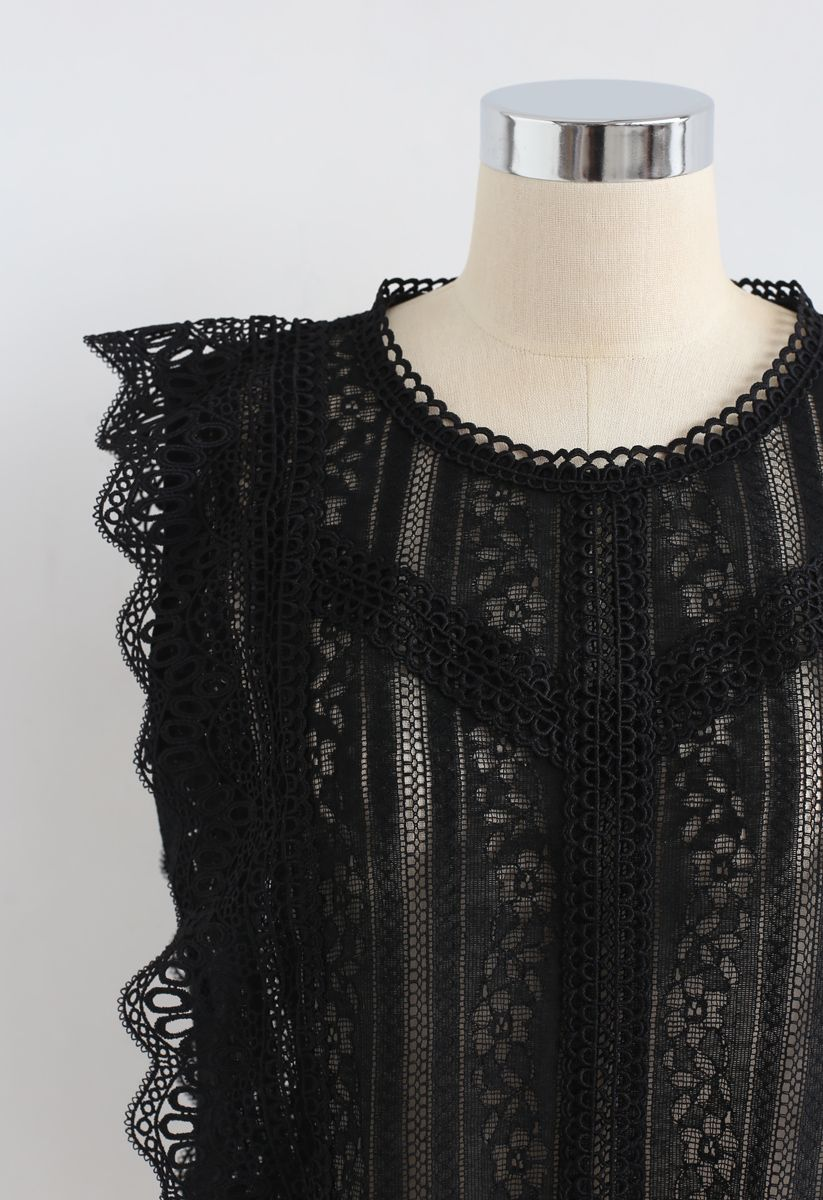 無袖鈎花蕾絲上衣 - 黑色