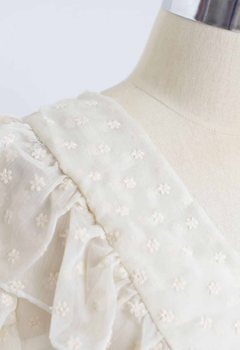 Floret Embroidery Ruffle Sheer Top in Cream
