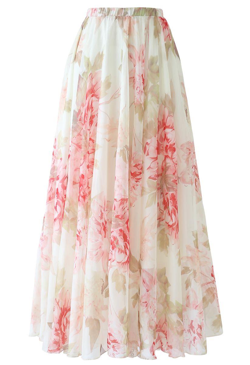 Brilliant Floral Watercolor Maxi Skirt