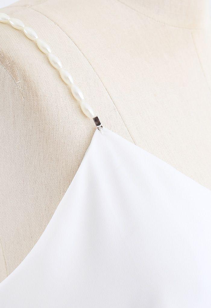 珍珠吊帶背心 - 白色