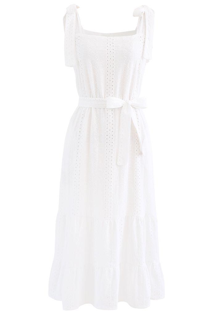 Embroidery Eyelet Shoulder Tie Belted Frilling Dress