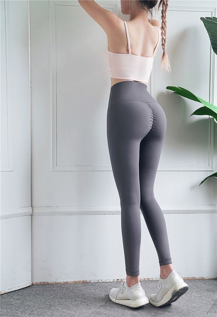 High Rise Peach Buttock Ankle-Length Leggings in Grey
