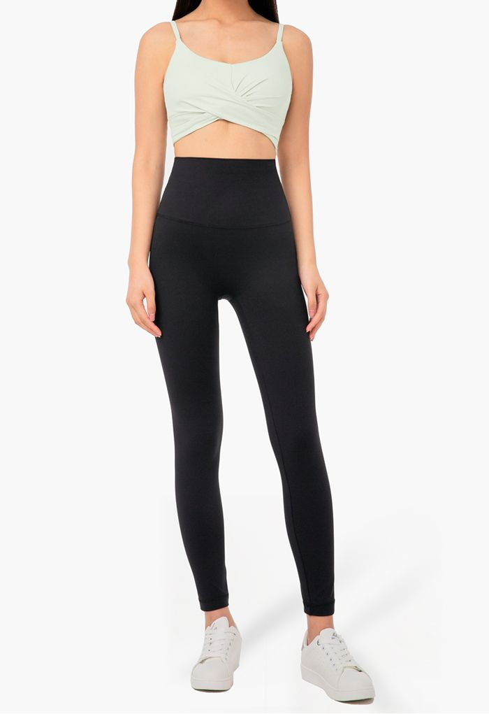 High Rise Peach Buttock Ankle-Length Leggings in Black