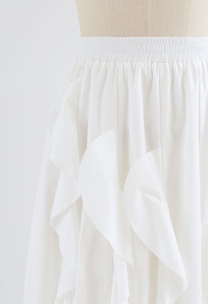 Ruffle Trim A-Line Cotton Midi Skirt in White