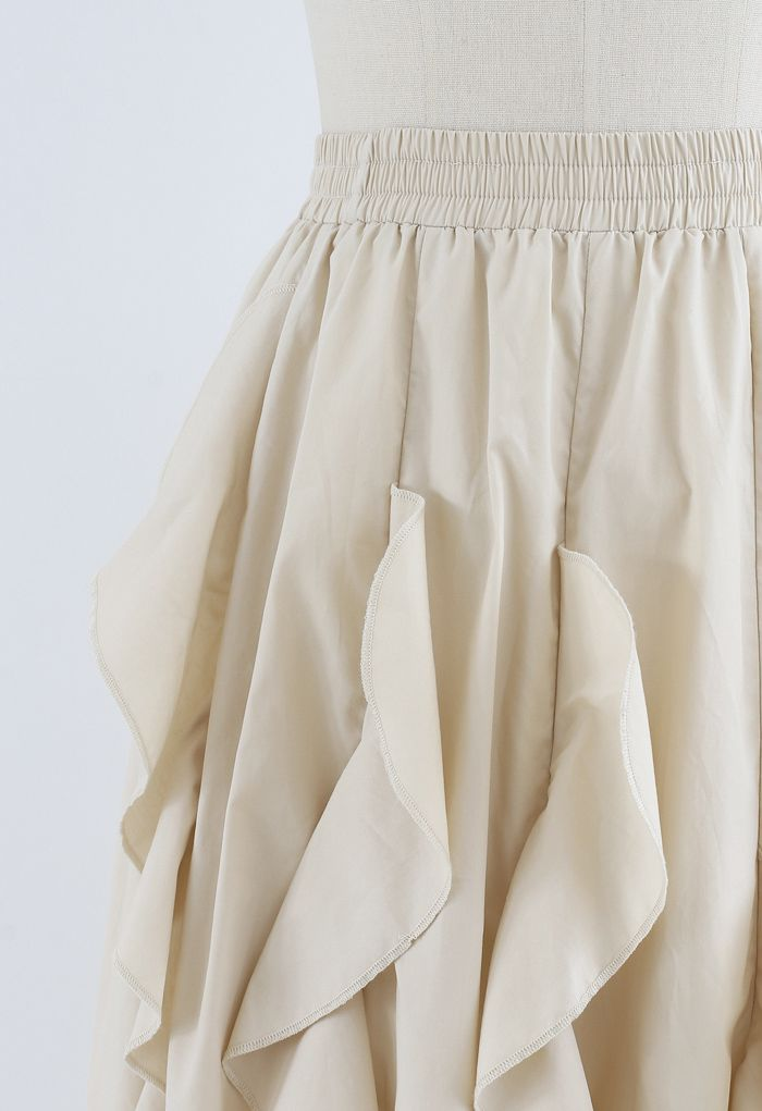 Ruffle Trim A-Line Cotton Midi Skirt in Cream