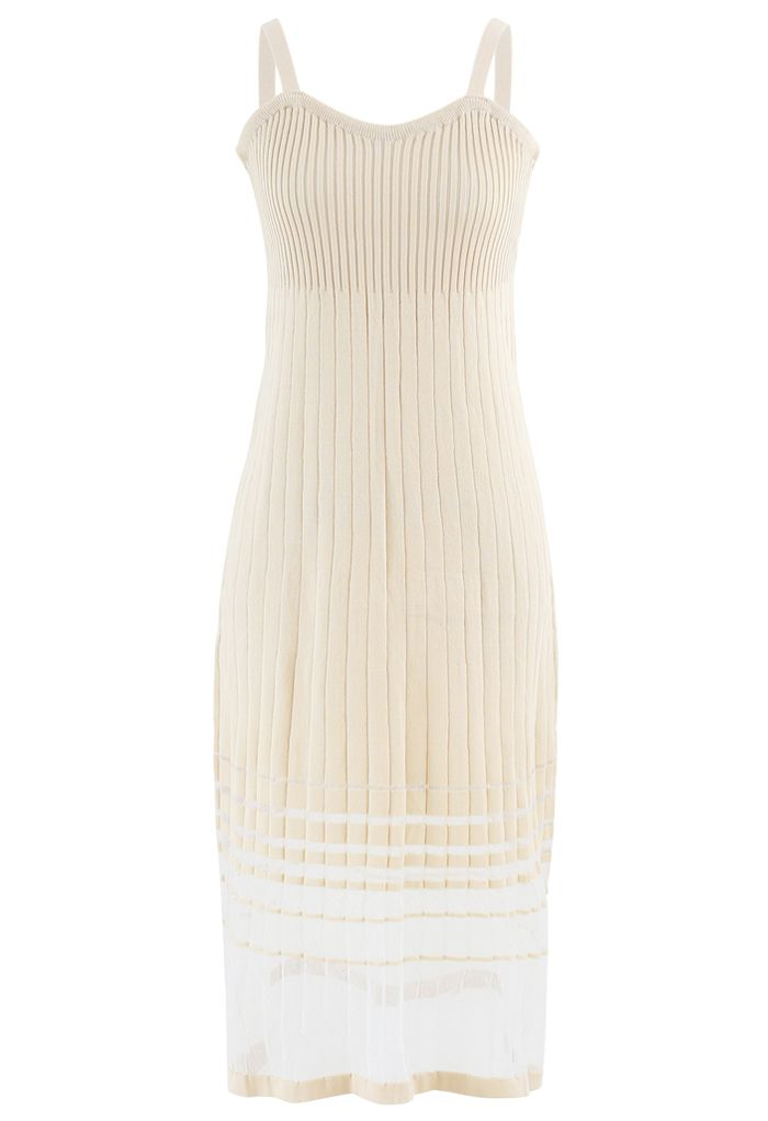 Striped Mesh Spliced Hem Knit Cami Dress in Cream