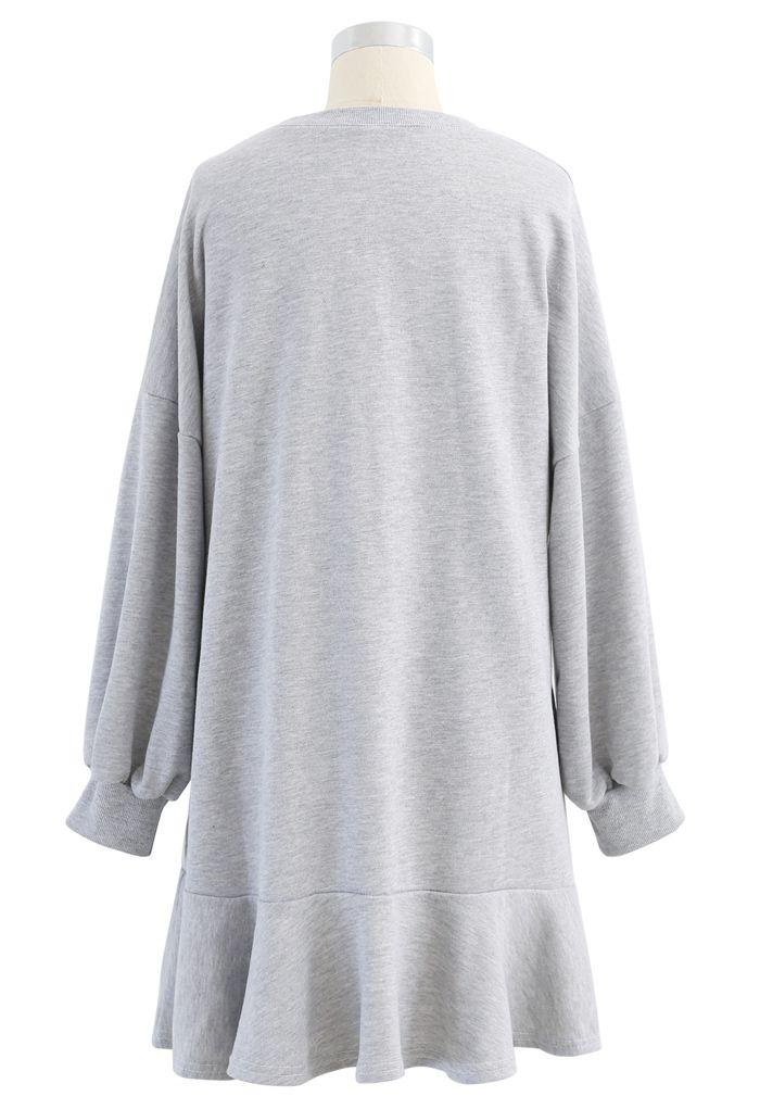 Ruffle Hem Sleeves Shift Mini Dress in Grey