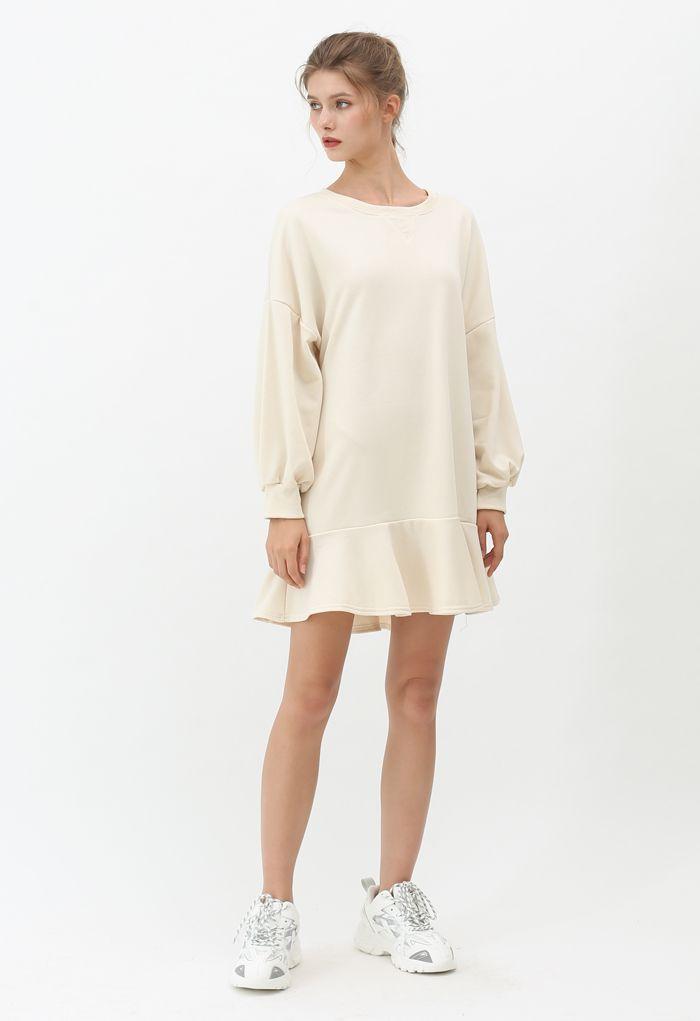 Ruffle Hem Sleeves Shift Mini Dress in Cream
