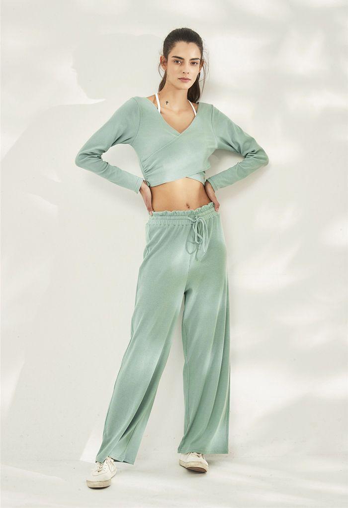Drawstring Paper-Bag Waist Ribbed Yoga Pants in Mint