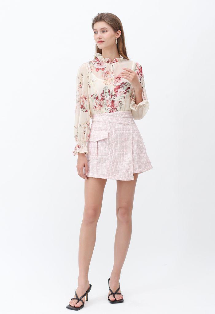 粗花呢迷你半身裙 - 粉色