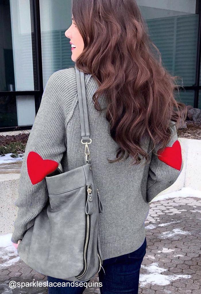 愛心拼接長袖針織衫-灰色