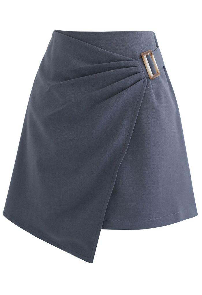 Side Ruched Belt Asymmetric Mini Skirt in Grey