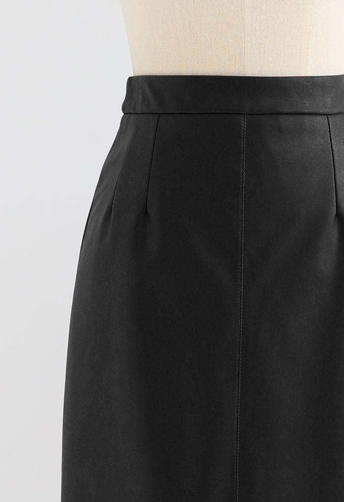 Vent Hem Faux Leather Pencil Skirt in Black