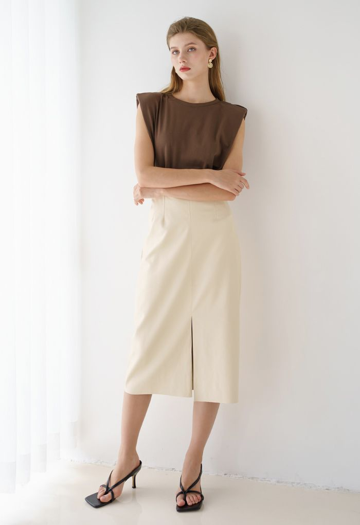 Vent Hem Faux Leather Pencil Skirt in Cream