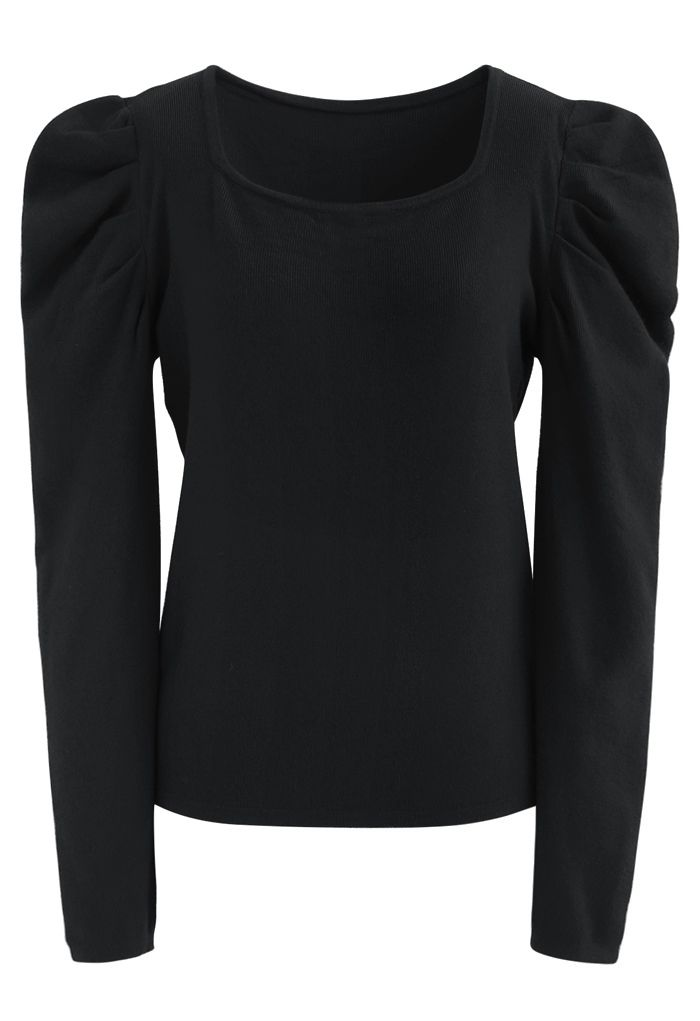 Square Neck Bubble Sleeves Knit Top in Black
