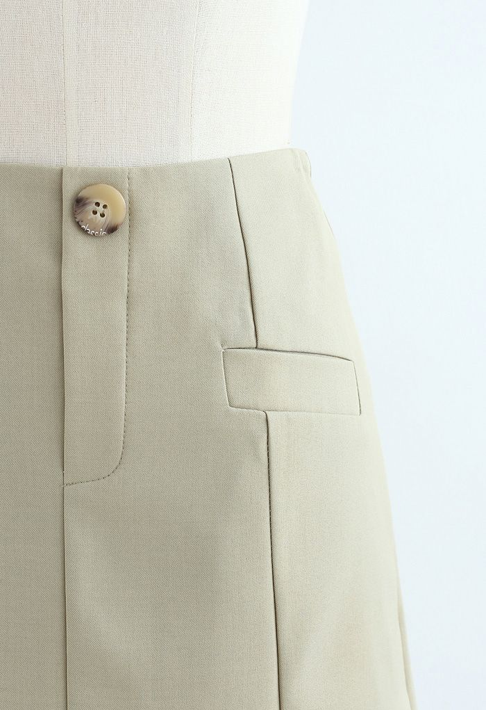 Pocket Embellishment Bud Skirt in Moss Green