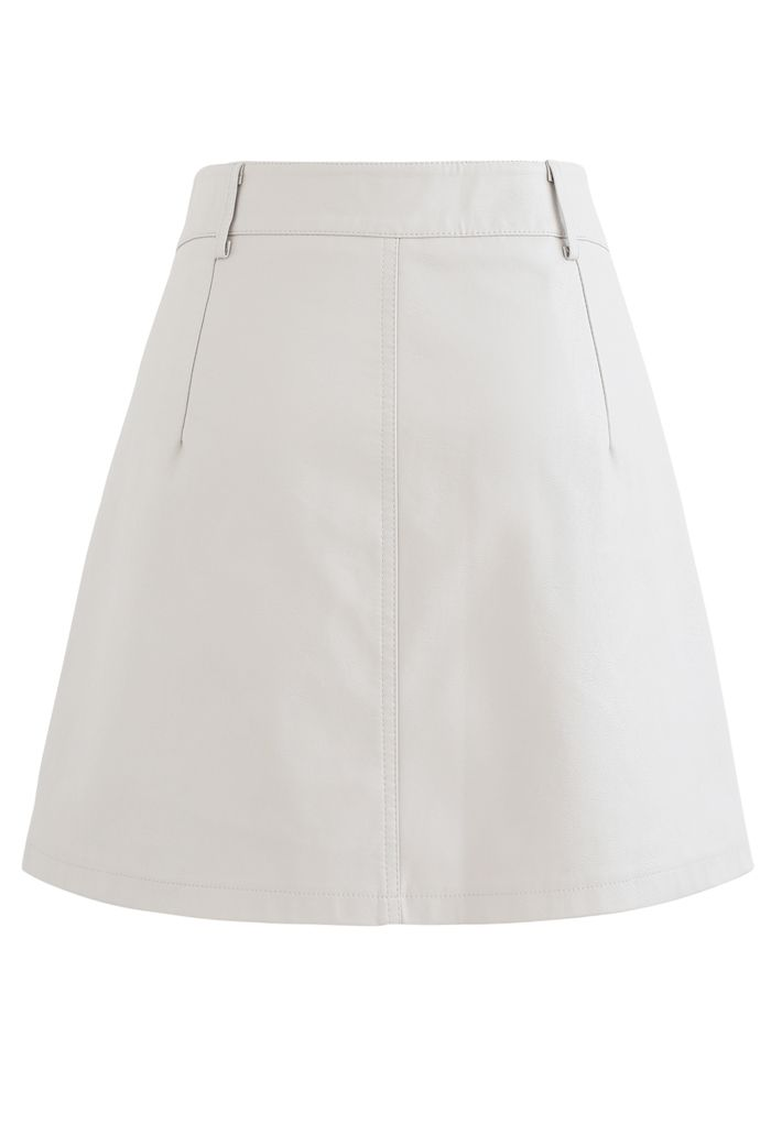 Pocket Faux Leather Texture Skirt in Ivory