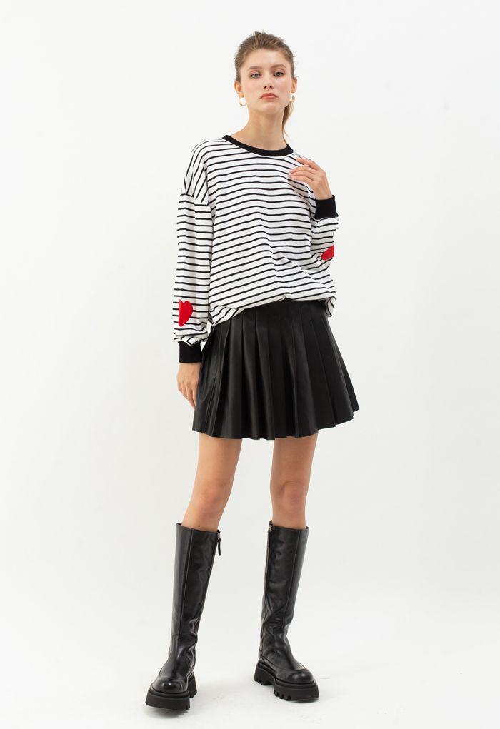 Black Stripes Heart Patchwork Sweatshirt