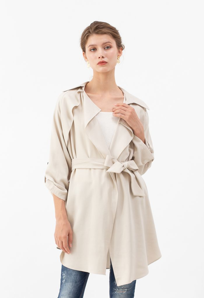 Drape Front Belted Trench Coat