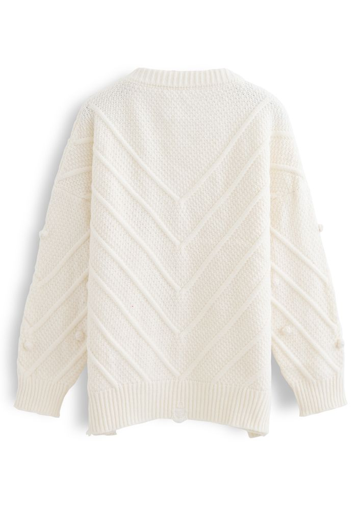 Raw Hem Pom-Pom Oversize Knit Sweater in Cream
