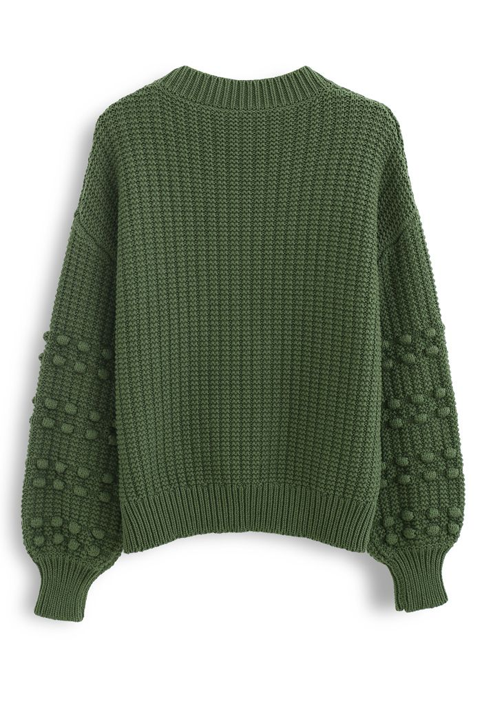 Bubble-Sleeve with Pom-Pom Detail Sweater in Green