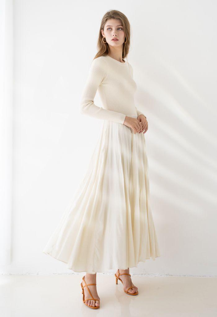 雪紡拼接針織長裙--米白色