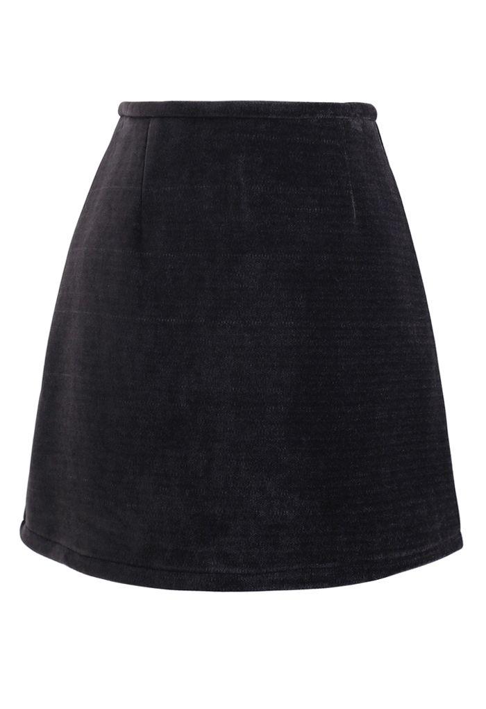 Corduroy Mini Bud Skirt in Black