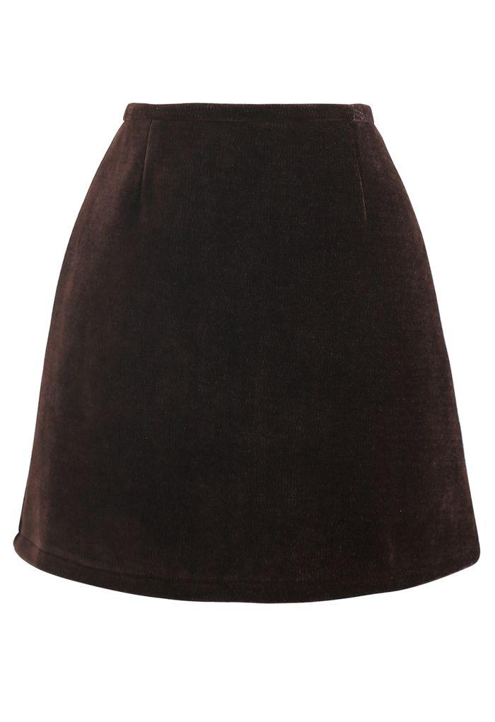 Corduroy Mini Bud Skirt in Brown