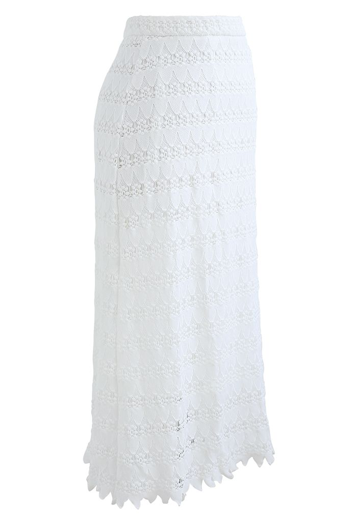 Scrolled Hem Full Crochet Pencil Skirt in White