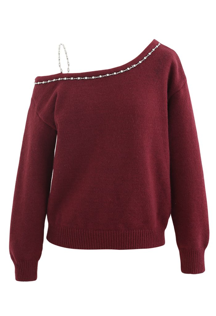 One-Shoulder Diamond Strap Knit Sweater in Wine