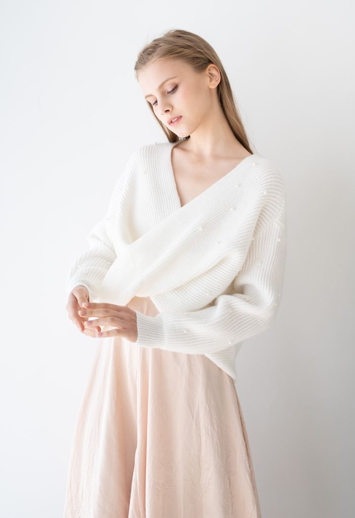 Twist Front Pearl Rib Knit Sweater in White