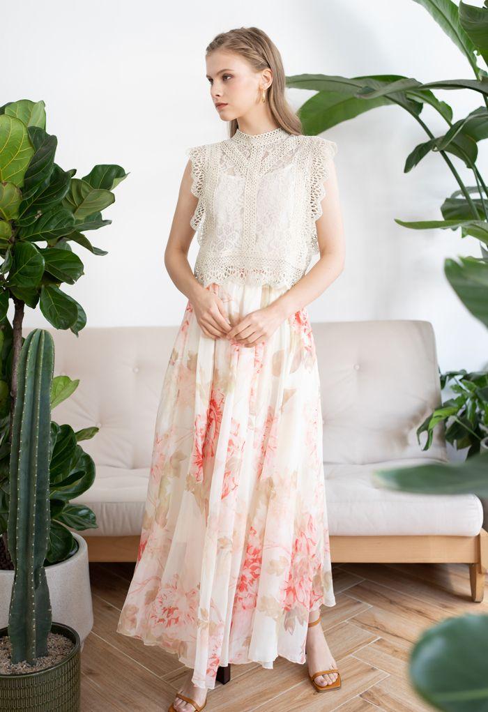 鉤邊蕾絲無袖短款上衣 - 米白色