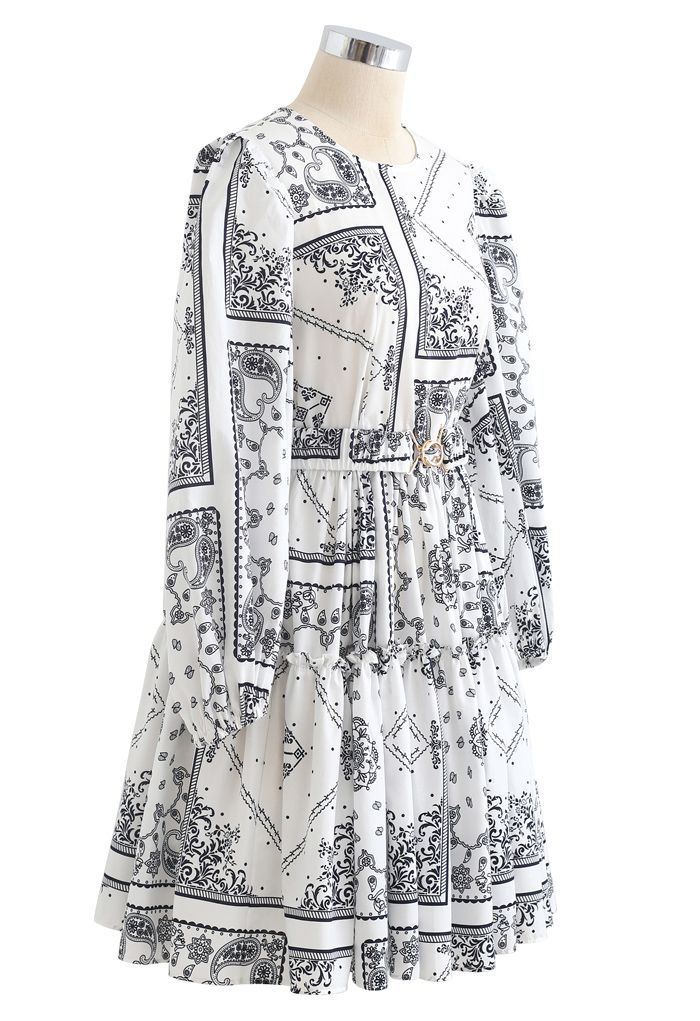 Puff Sleeves Belted Boho Dolly Dress in White