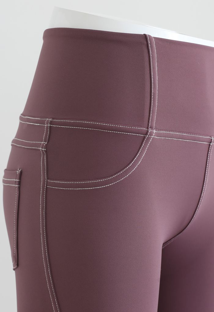 Seam Detail Back Patched Pocket Crop Leggings in Berry