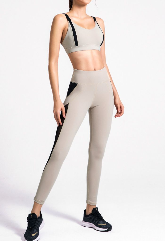 Two-Tone Sports Bra and Mesh Inserted Leggings Set in Sand