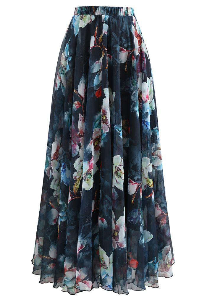 Flowy Floral Chiffon Maxi Skirt