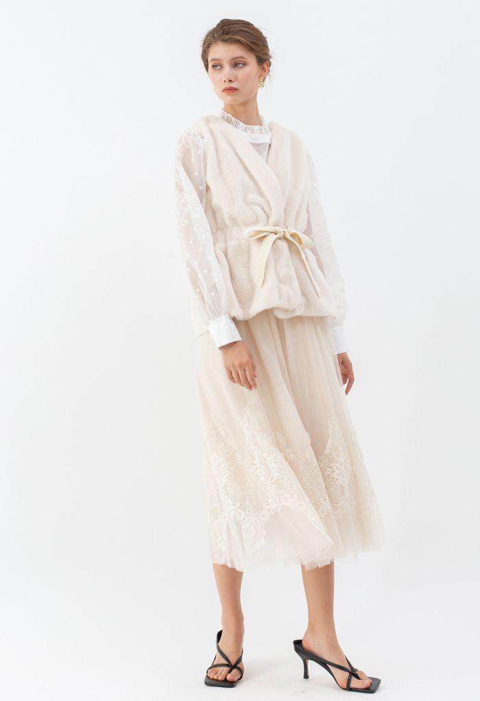 Bowknot Soft Faux Fur Vest in Cream