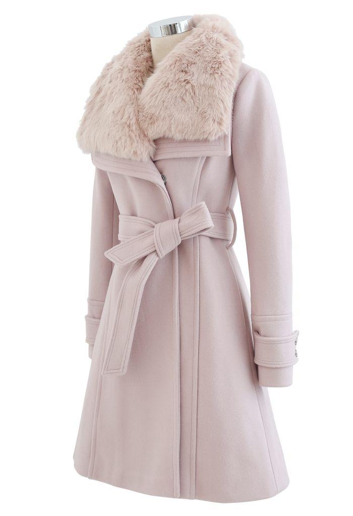 Faux Fur Wide Lapel Wool-Blend Coat in Pink
