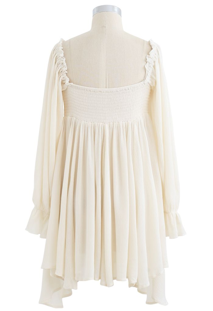 Square Neck Buttoned Asymmetric Mini Dress in Ivory