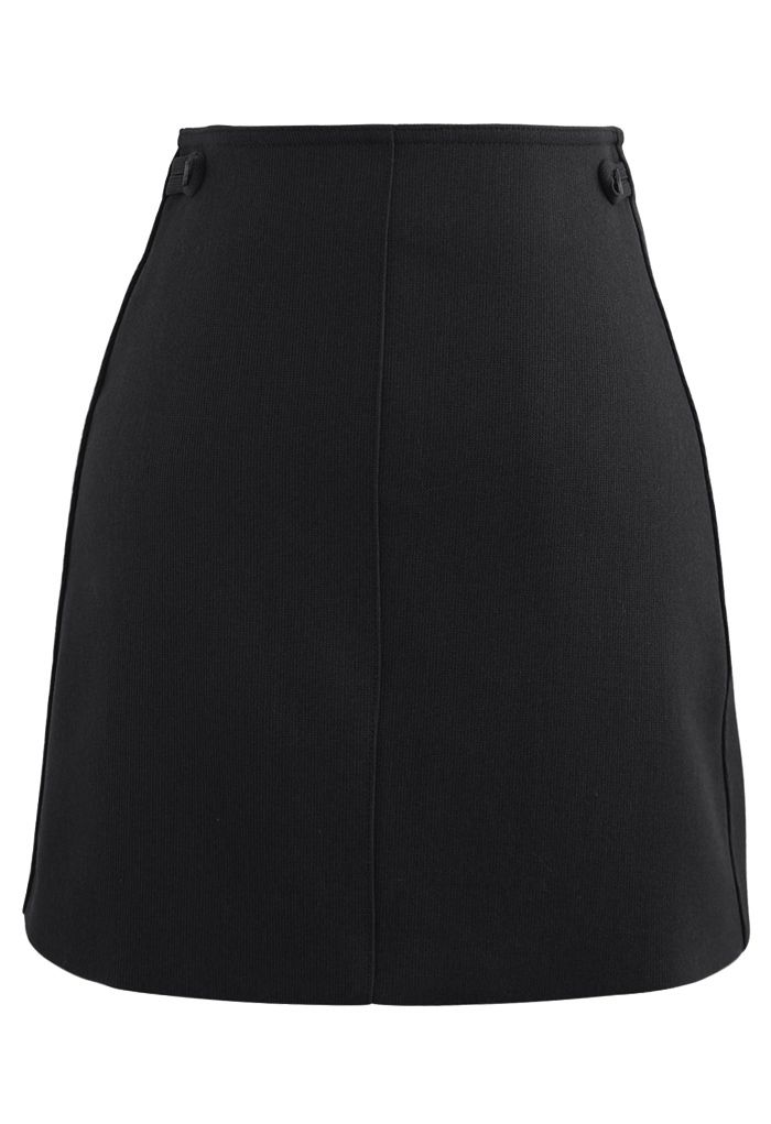 Double Buttons Bud Mini Skirt in Black