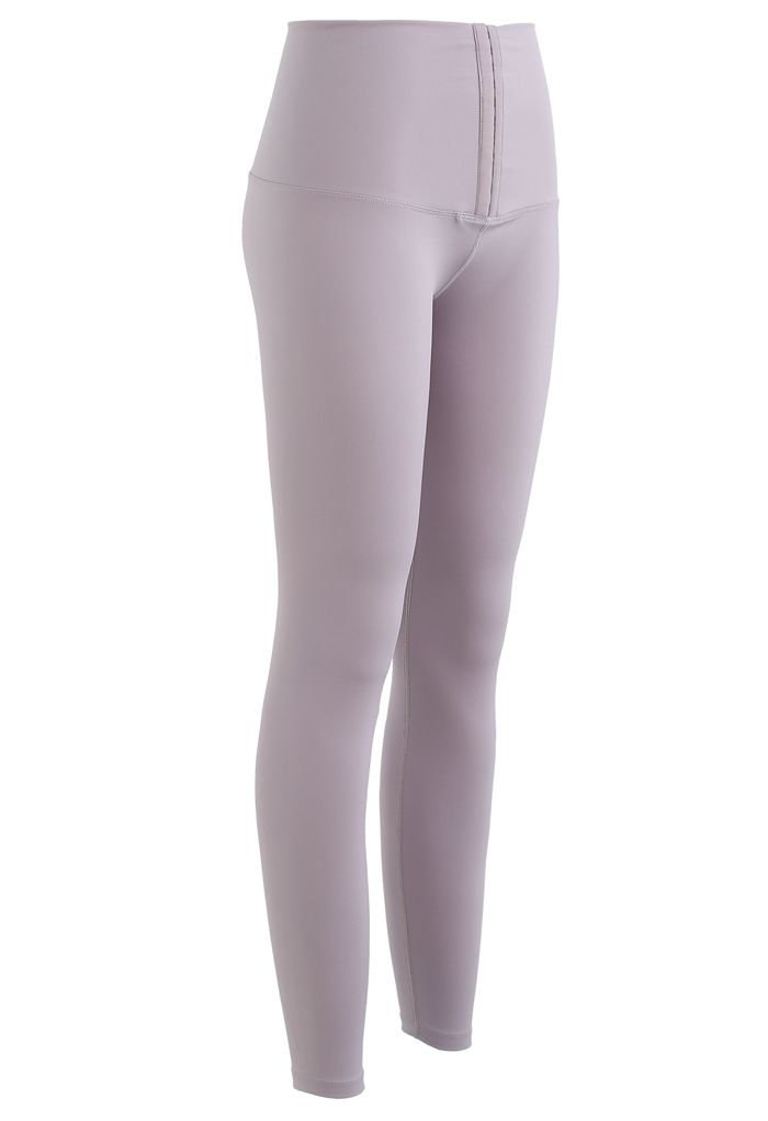 High Waisted Hook and Eye Fastening Leggings in Lilac