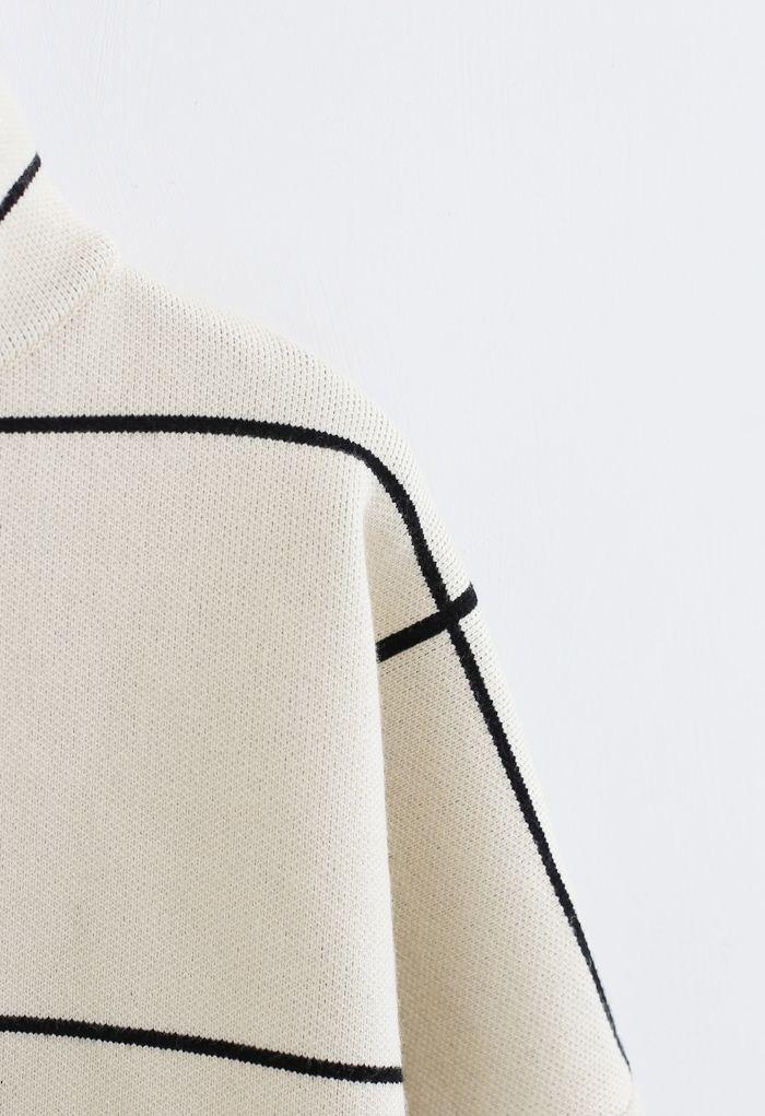 高領格子針織衫