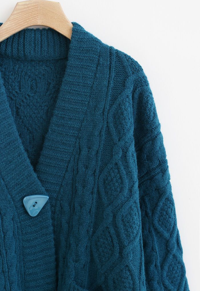 Irregular Button Pocket Braid Cardigan in Indigo