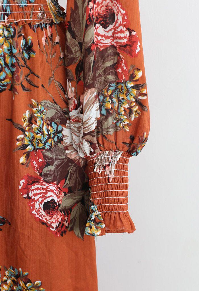 印花紐扣裹身式連衣裙 - 橘色