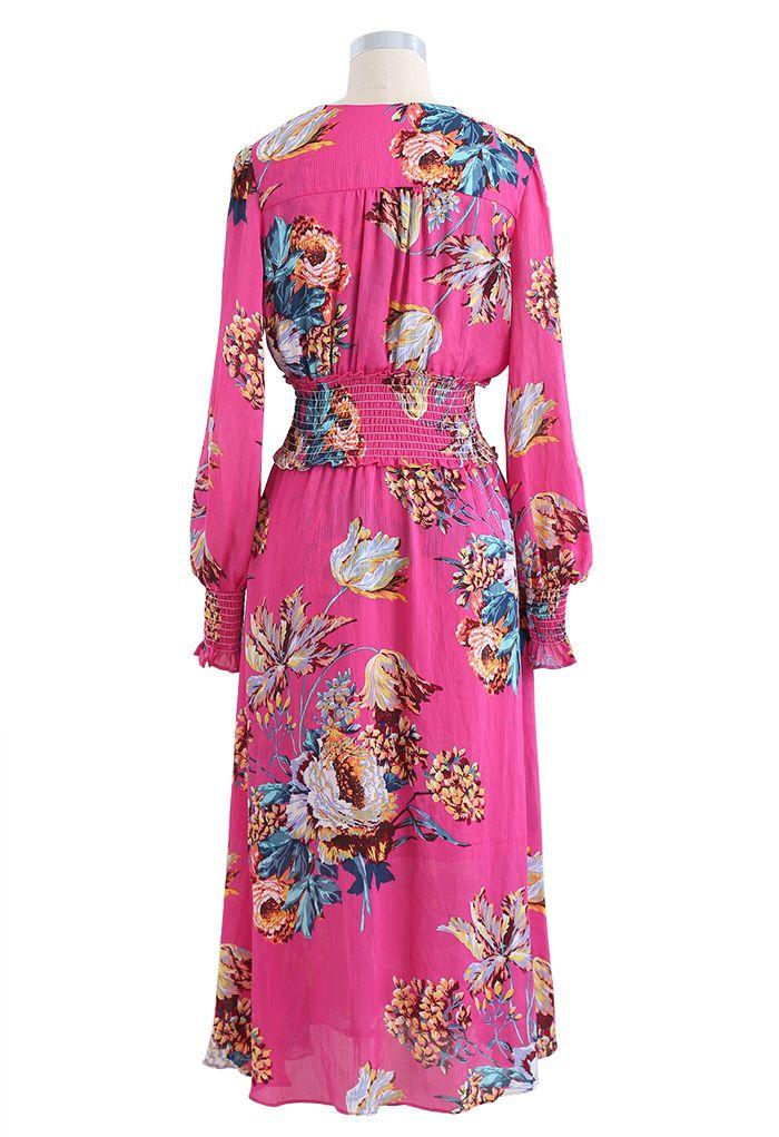 印花紐扣裹身式連衣裙 - 玫紅色