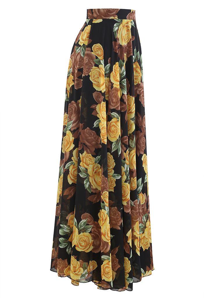 黃色玫瑰印花雪紡半裙