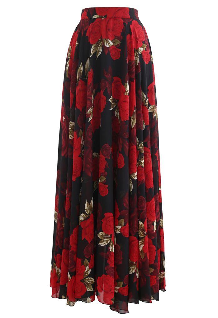 紅色玫瑰印花雪紡半裙
