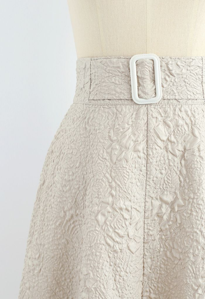 Rose Embossed A-Line Maxi Skirt in Sand
