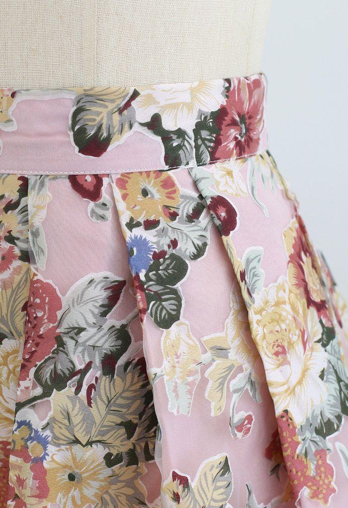 Blooming Flowers Printed Organza Midi Skirt